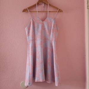 Periwinkle & Pink Mini Dress